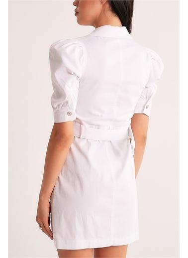 Robin Robin Kemerli Karpuz Kol Elbise Beyaz Beyaz